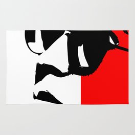 Contemporary Hipster - Black, White, Red Vector Pop Art Rug