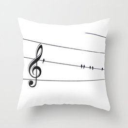 Natures Choir Birds on Wire Music Note A611W Throw Pillow