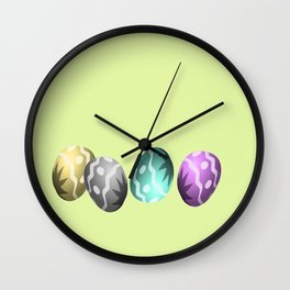 Colorful easter eggs on green Wall Clock