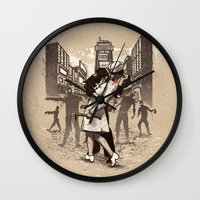 zombies Wall Clocks featuring Zombies by Ronan Lynam