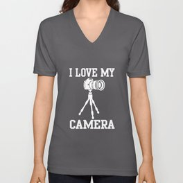 I LOVE MY CAMERA CAMERALOVE LOVE MY CAM Unisex V-Neck