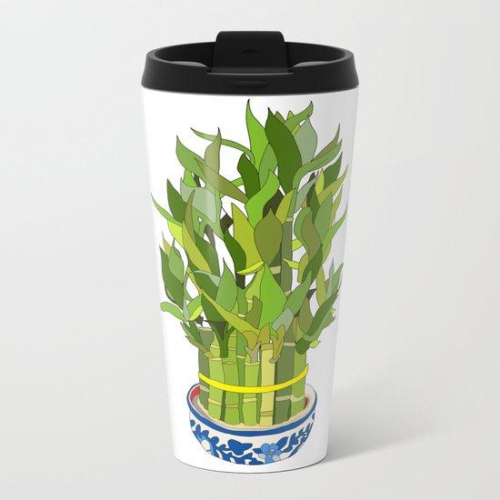 Lucky Bamboo in Porcelain Bowl Metal Travel Mug