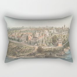 Vintage Pictorial Map of Mount Vernon VA (1859) Rectangular Pillow