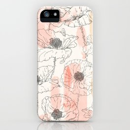 Watercolor Poppies Seamless Print iPhone Case