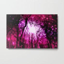 Pink Fuchsia Space Black Trees Metal Print