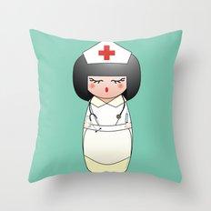Kokeshi Nurse Throw Pillow