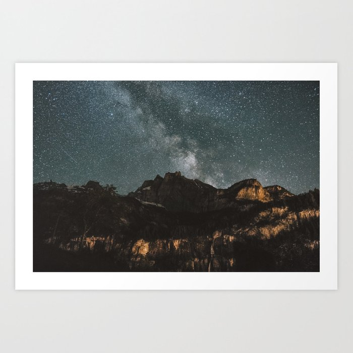 Space Night Mountains - Landscape Photography Art Print