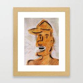 Orange Yelling Cartoon Face Framed Art Print