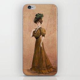 Woman in yellow dress Edwardian Era in Fashion iPhone Skin
