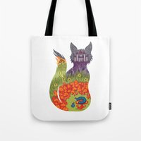 alice wonderland Tote Bags featuring Wonderland by Heather Searles