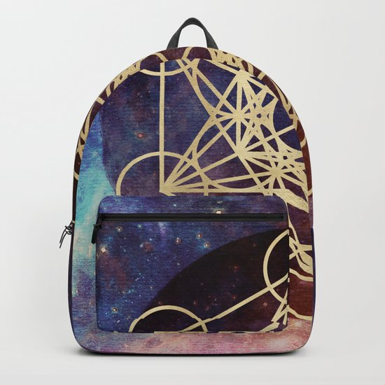 Metatron Mandala Moon Gold Bronze Copper Backpack