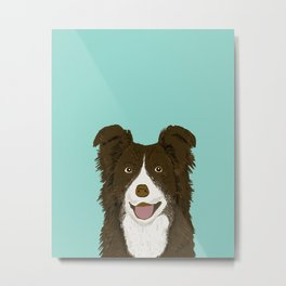 Border Collie chocolate brown cute working dog breed herding dogs gift for border collie owner pets Metal Print