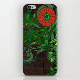 Floral - Florals - Flowers - Wood - Blues & Green iPhone Skin