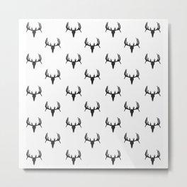Dead Deer Skull Silhouette Pattern Metal Print
