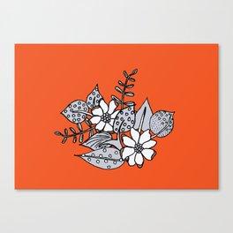 Orangey Gray Floral Canvas Print