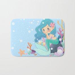 Cute Mermaid pink and blue Bath Mat
