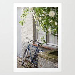 Bicycle with White Roses, Bruges Art Print