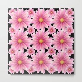 Pink Daisy Pattern Metal Print