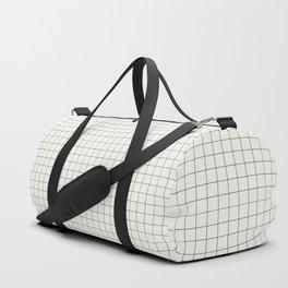 Black Grid on White Duffle Bag