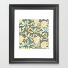Leaf pattern | brown, pale yellow and green Framed Art Print