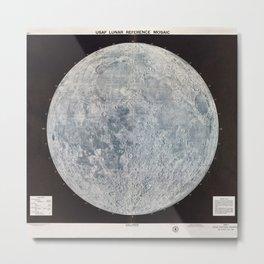 Vintage Lunar Moon Map, 1960s Metal Print