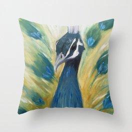 Brooding Peacock Throw Pillow