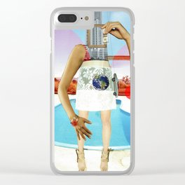 the crazy woman and the world of consumption Clear iPhone Case