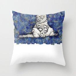 Cat Graphic Cat Gogh Van Goh Cat Starry Night Cat Clipart Throw Pillow