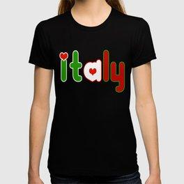 Italy Font with Italian Flag T-shirt