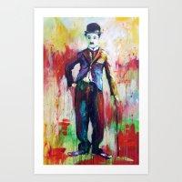 charlie chaplin Art Prints featuring Charlie Chaplin by Marta Zawadzka