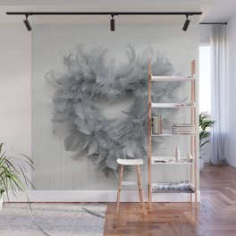 Grey Feather Heart Wall Mural