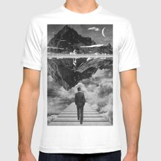 Black & White Collection -- Wandering MEDIUM White Mens Fitted Tee