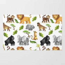 Safari Animals Pattern Watercolor Rug