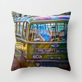 Retro Mevagissey Bus Throw Pillow