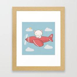 Kawaii Cute Flying Cat Framed Art Print