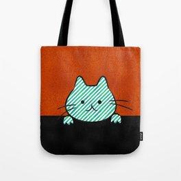Cute Teal Striped Cat Tote Bag