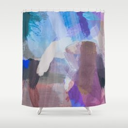 Brush Painting Texture Abstract Background In Blue Purple Brown Shower Curtain
