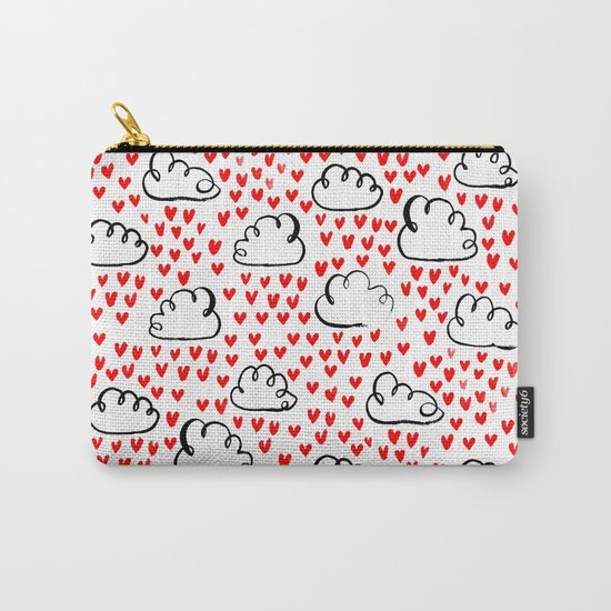Heart Rain watercolor ink pattern basic minimal love valentines day gifts Carry-All Pouch