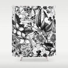 Plumeria Shower Curtains Society - Black and white flower shower curtain