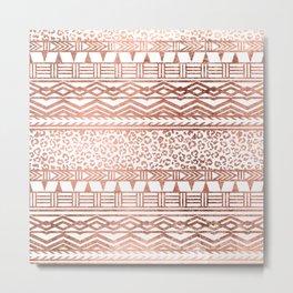 Modern rose gold leopard geometric aztec pattern Metal Print