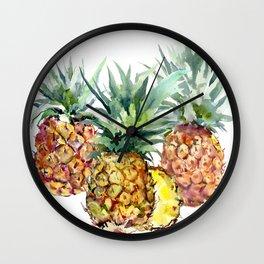 Pineapples, pineapple art design watercolor tropical HAwaiian kitchen art Wall Clock