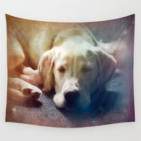 puppies Wall Tapestries featuring Dreaming by Christine Belanger