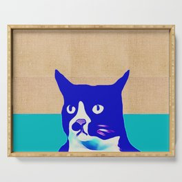 Canvas Blue Cat Serving Tray