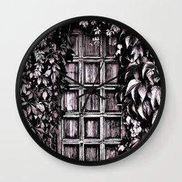 Black White Old Door Wall Clock