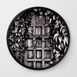 Black White Old Door Wall Clock