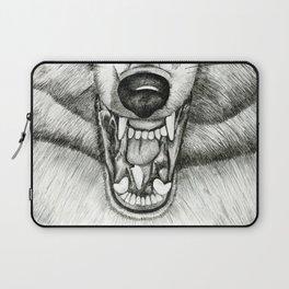 Pencil Drawing - Wolf Growl Laptop Sleeve
