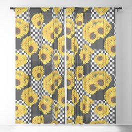 Mixed Check Yellow Sunflower Floral with Black and White Checkered Summer Print Sheer Curtain