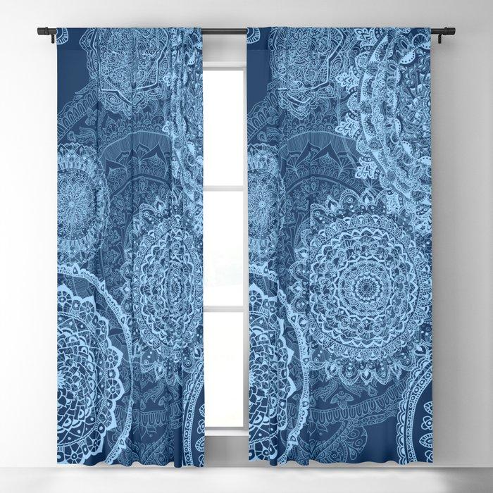 Mandala rain blue Blackout Curtain
