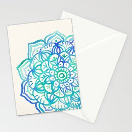 Watercolor Medallion in Ocean Colors Stationery Cards