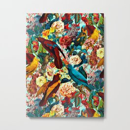 FLORAL AND BIRDS XV Metal Print